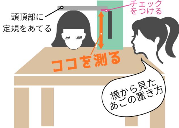 全頭高の測り方(ティッシュボックスver.)画像